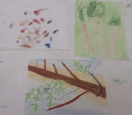"We then drew a tree from the season of our choosing with colored pencils. Made our own paint and then went outside to create ""En Plein Air"" using pastels"