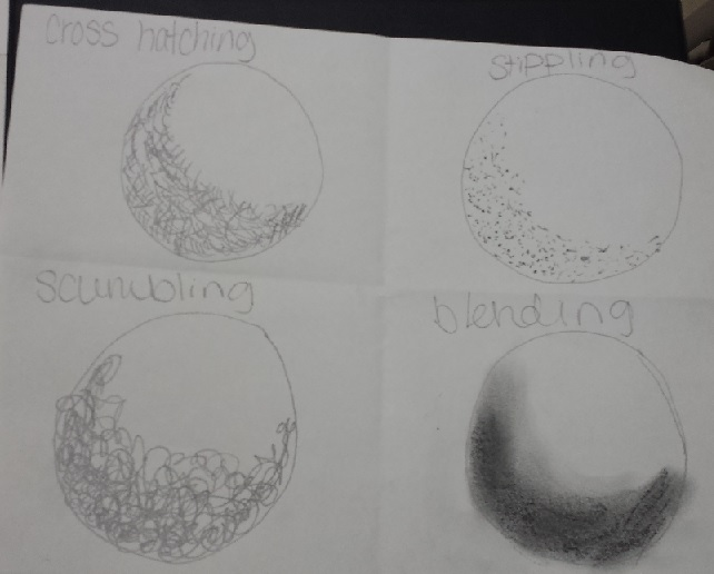 On Monday, we learned the basics, how to draw balls and boxes and create 3 dimensions using various shading techniques using pencil and pens..