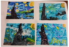 We learned about Vincent Van Gogh. We used pastels as well as tempera paint to recreate Starry Night.