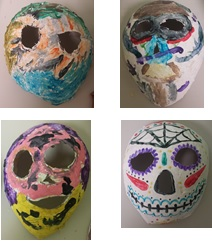 We made paper mache masks. We made our own paste out of flour and water. After the paper mache dried we painted the masks.