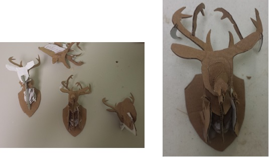We made trophy deer out of cardboard.