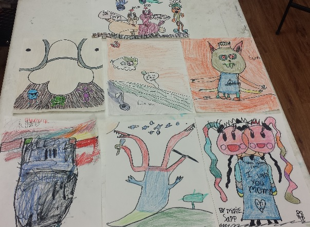 On Friday we learned cartooning. We drew minions and then created our own cartoon.