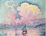 Wednesday we recreated Antibes, The Pink Cloud by Paul Signac using both colored pencils and water color.